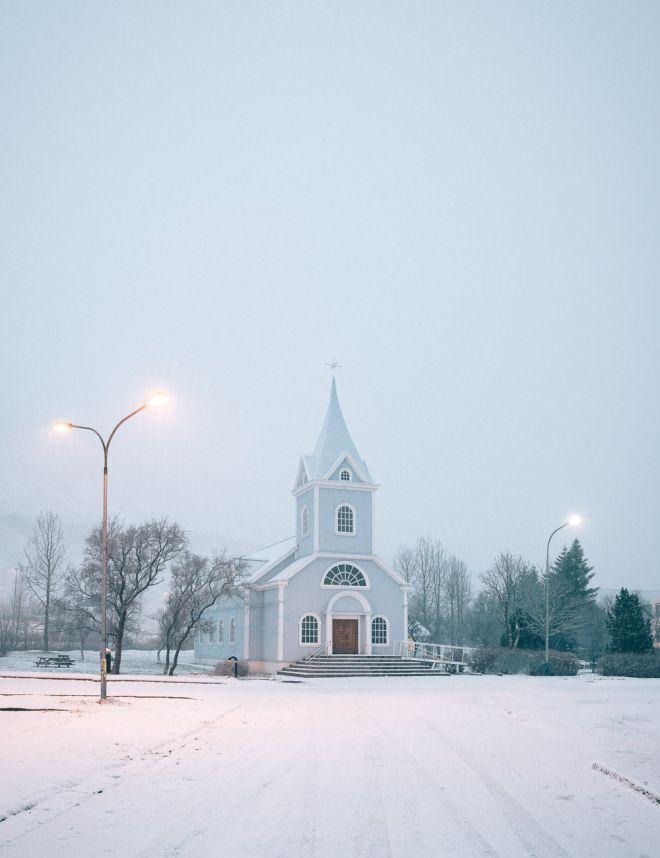 Blue church in Seydisfjordur, Iceland
