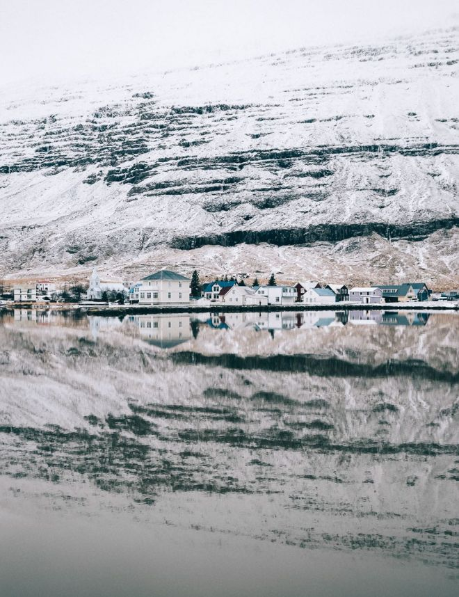 Winter landscape photography - colorful houses in Seydisfjordur, Iceland